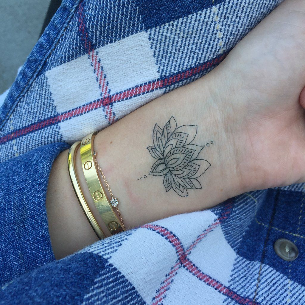 Lotus Flower Wrist henna, Wrist tattoos for women, Wrist