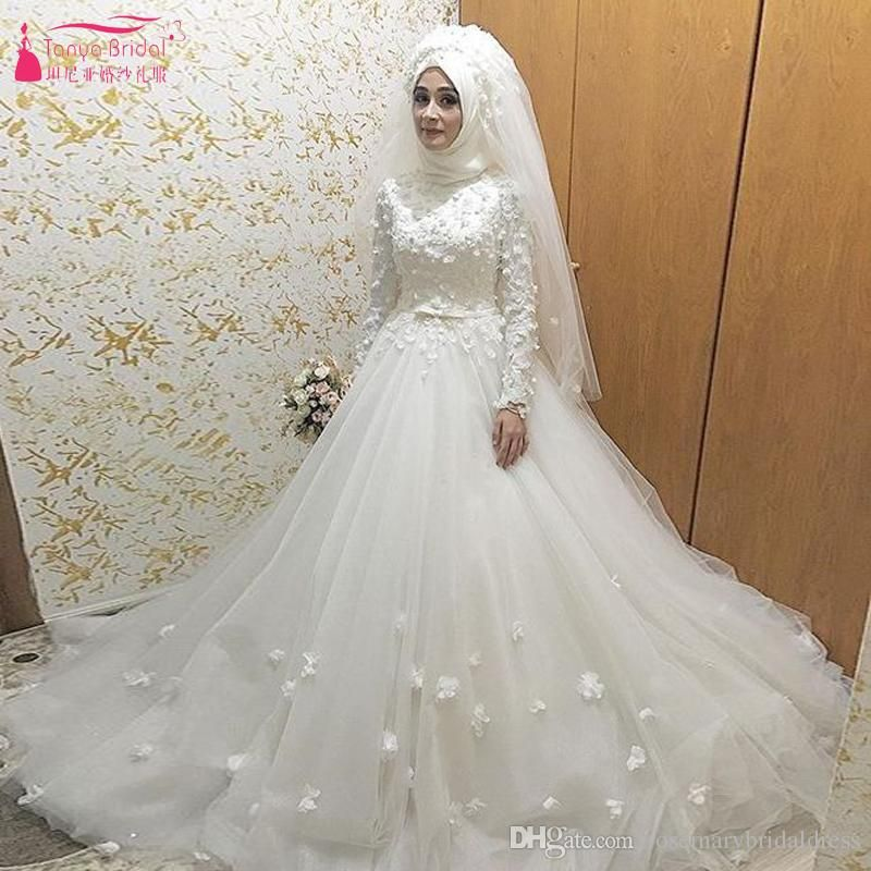 df7efb15f9c8 White Tulle Muslim African Wedding Dresses 3d Flower Modern Bridal Dresses  Online Shop China Vestido De Noiva Red Wedding Dresses Sexy Wedding Dress  From ...