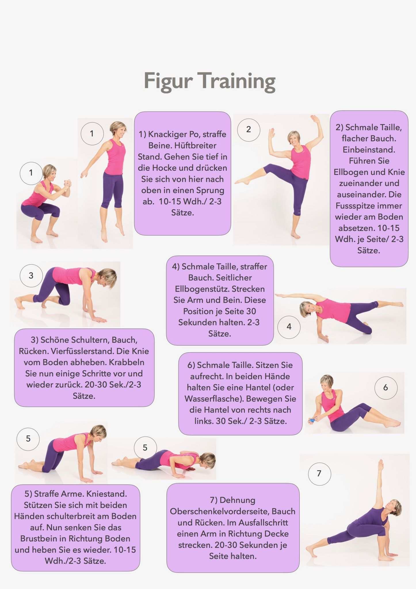 Abnehmen der Arme Rücken und Bauch Diagramm