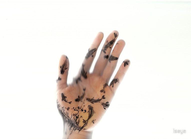Koi pond on her hand