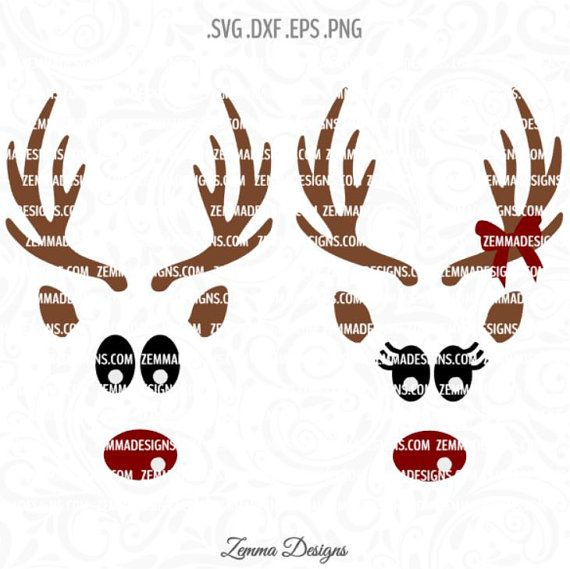 reindeer face svg reindeer svg christmas svg by zemmadesigns