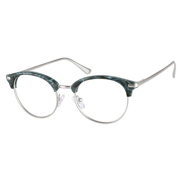 ffcb83fcfa9 Zenni Browline Prescription Eyeglasses Green Mixed Materials 7813024