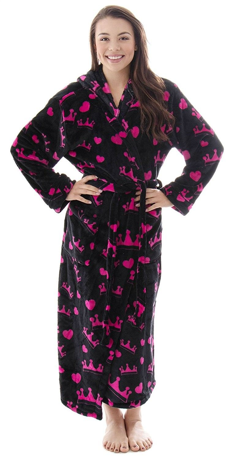 47c621cca0 Women s Hooded Printed Flannel Fleece Bathrobe w  Side Pockets-Assorted  Patterns - Pink Crowns - Black - CT184HYX3UH