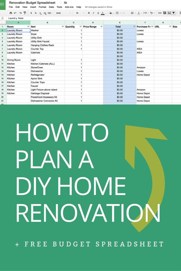 How to Plan a DIY Home Renovation + Budget Spreadsheet | Budgeting ...