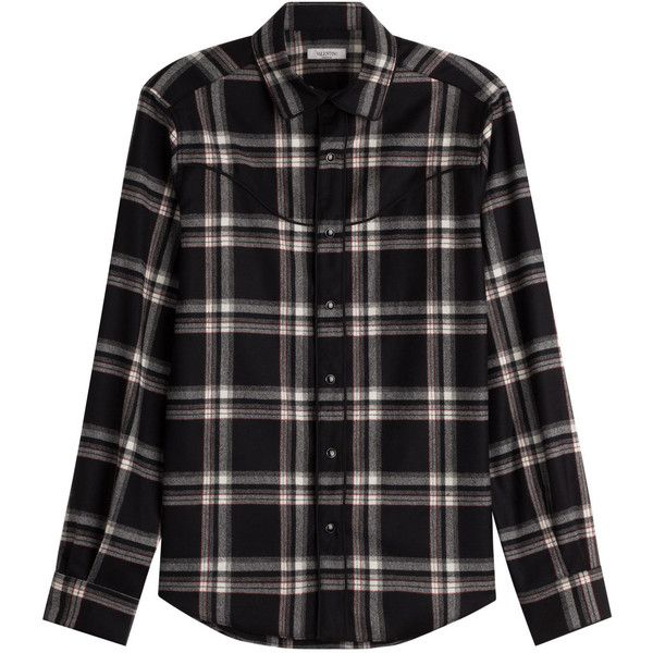 Valentino Virgin Wool Plaid Shirt (4.595 DKK) ❤ liked on Polyvore featuring tops, shirts, black, tartan shirts, tartan plaid shirt, valentino shirt, shirt top and tartan top