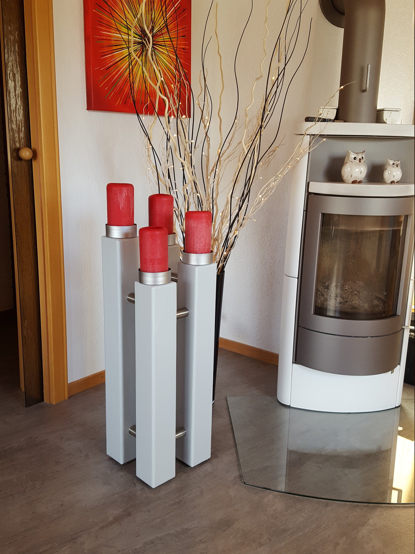 Holz Kerzenstander 4 Fach Xxl Kerzen Holz Und Gebursteter