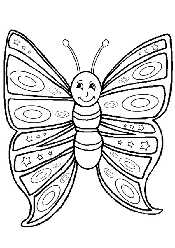 Free Online Printable Kids Colouring Pages  Smiling Butterfly