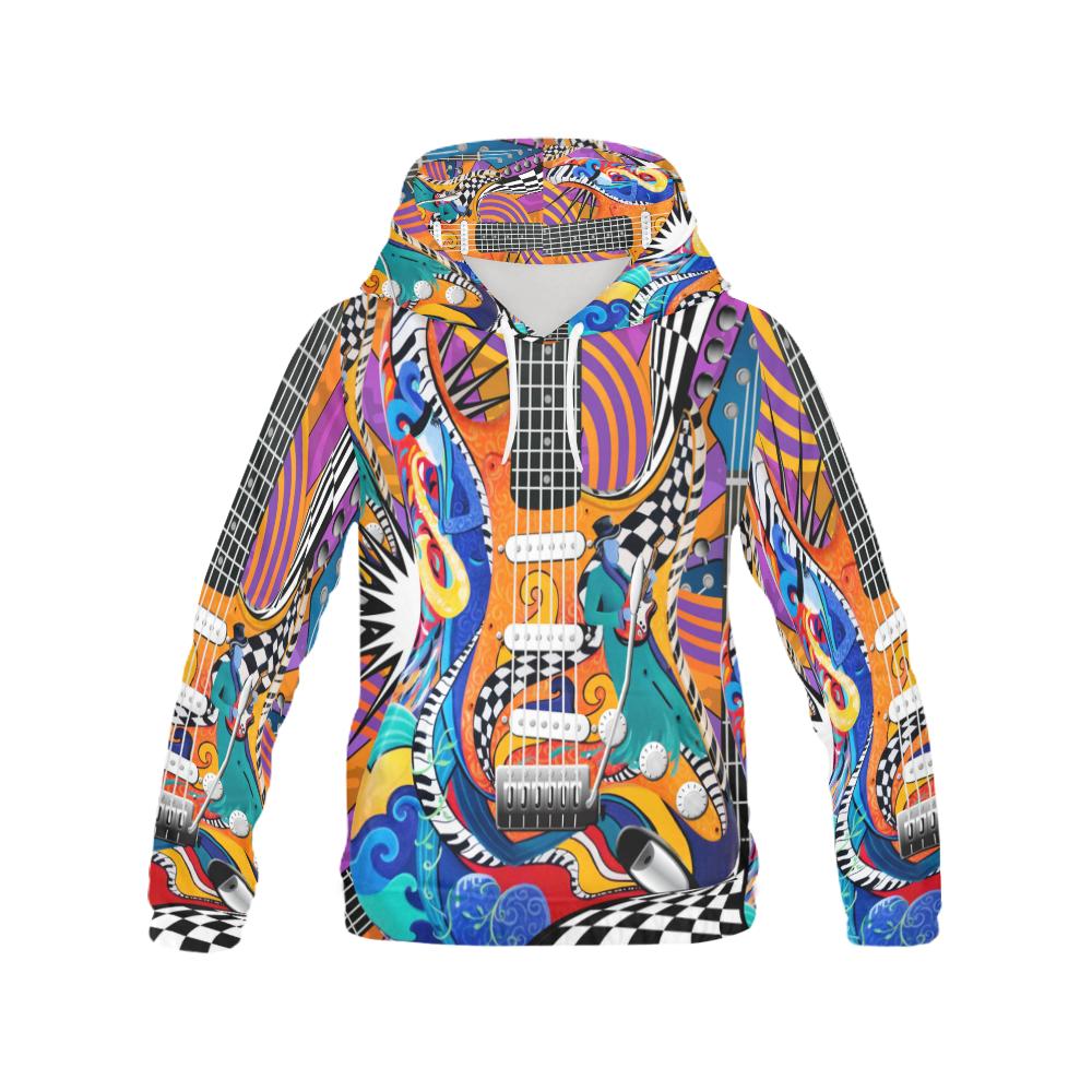 Print Hoodie Rock Guitar Pop Art Print All Over Print Hoodie