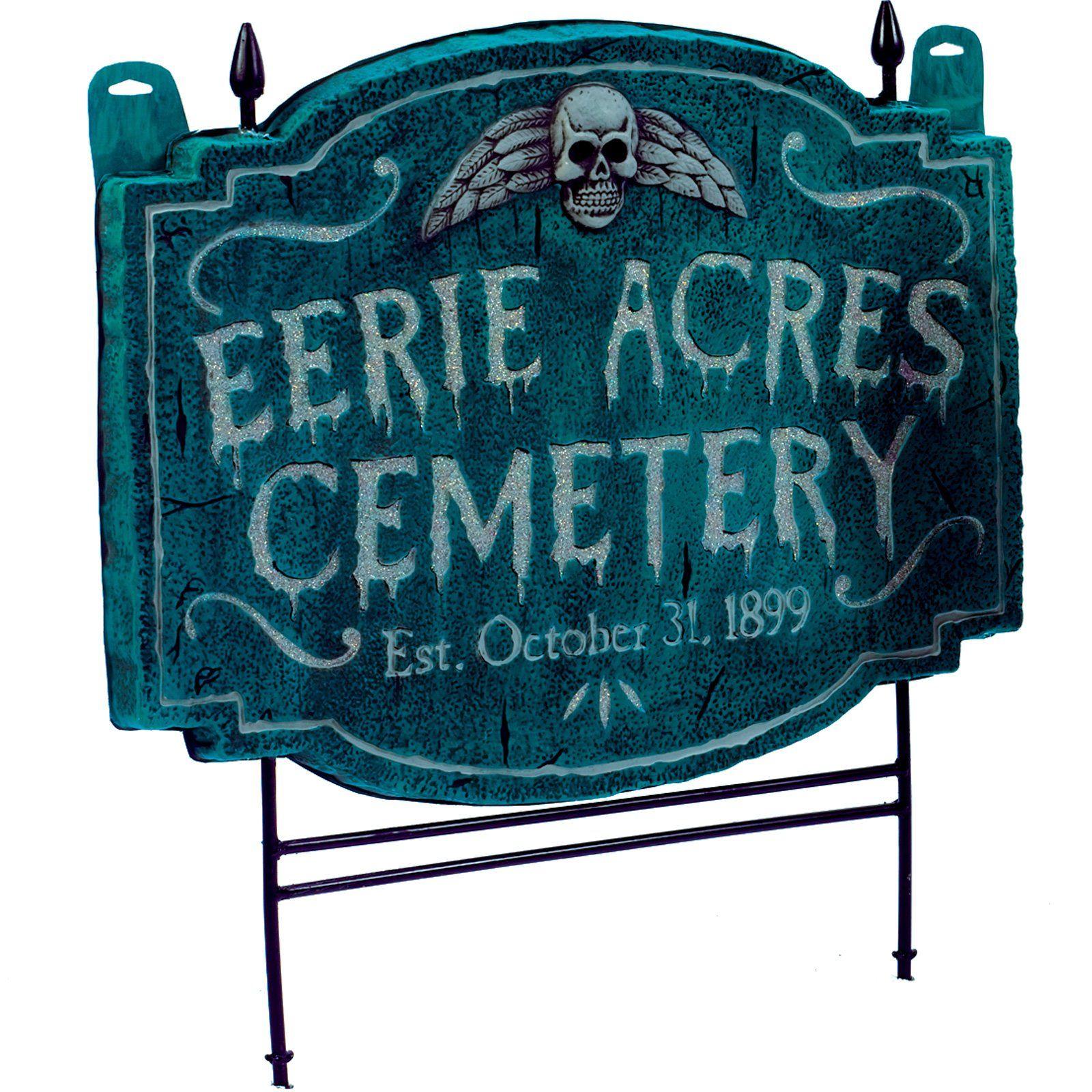 Eerie acres cemetery Halloween sign