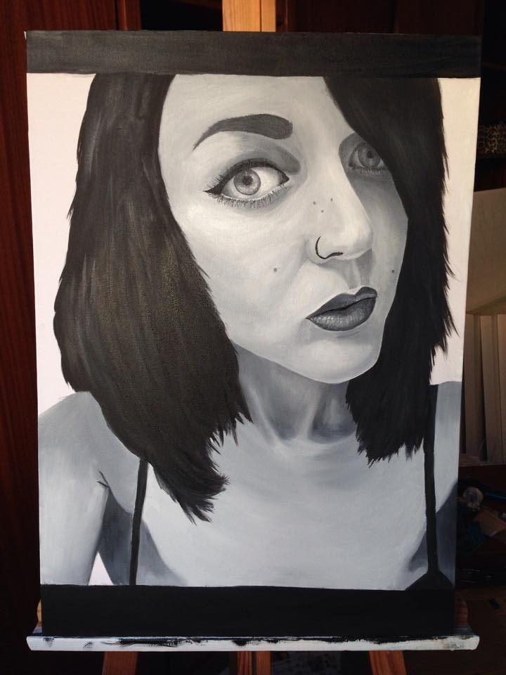 Self-Portrait. Oil on canvas. 50x70cm. #Art #Oil #Painting #OilPainting #Self #Portrait #SelfPortrait #Black #White