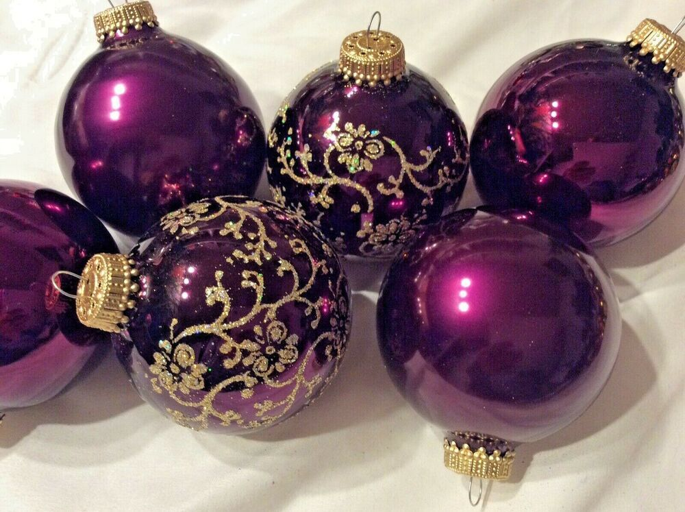 Plum Colored Glass Ball Glittered Christmas Ornaments New ...