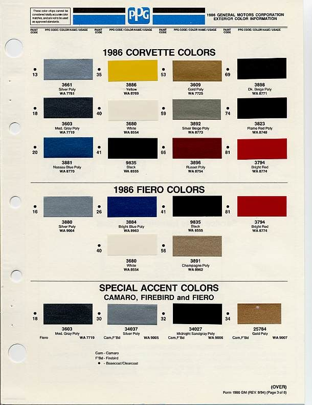 Gm Color Chips Car Paint Colors Paint Color Codes Paint