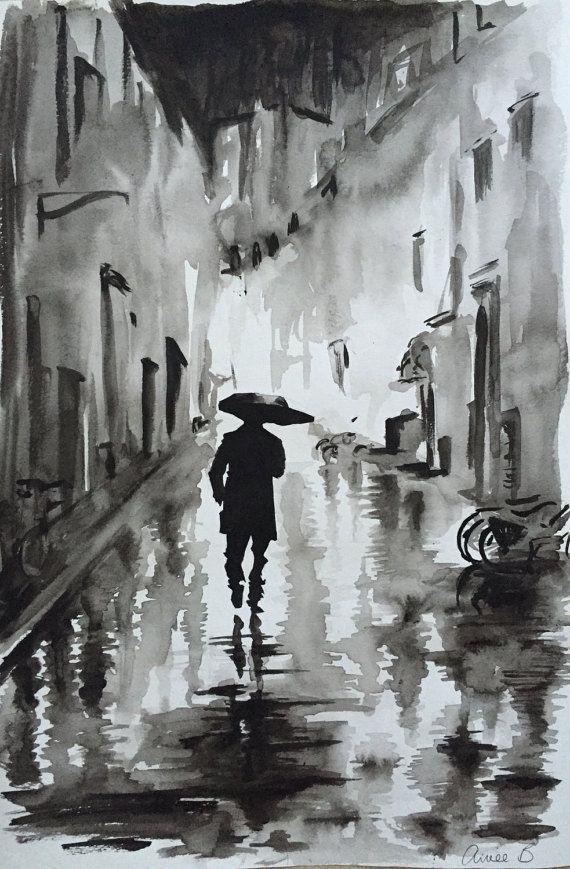 Ähnliche Artikel wie Mann im Regen ORIGINAL-Gemälde – Kostenloser Versand weltweit auf Etsy