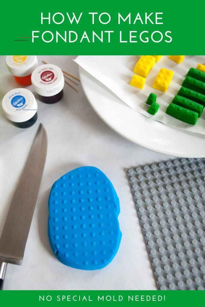 How to make edible LEGO® fondant bricks for a LEGO cake (no special mold needed) - Merriment Design Edible DIY LEGO cake decorations for a LEGO birthday cake. Making fondant LEGO blocks is easy and fun, even for beginner cake decorators. #cakes #lego #birthday #cake #boys #girls #easy #DIY #ideas #simple<br> Make these easy edible fondant LEGO bricks for a LEGO birthday cake -- both thick and thin LEGO cake decorations and toppers -- no special LEGO mold needed!