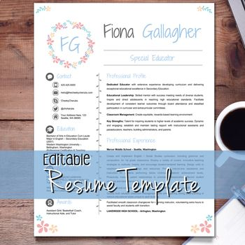 EDITABLE Teacher Resume Template + Cover Letter and References