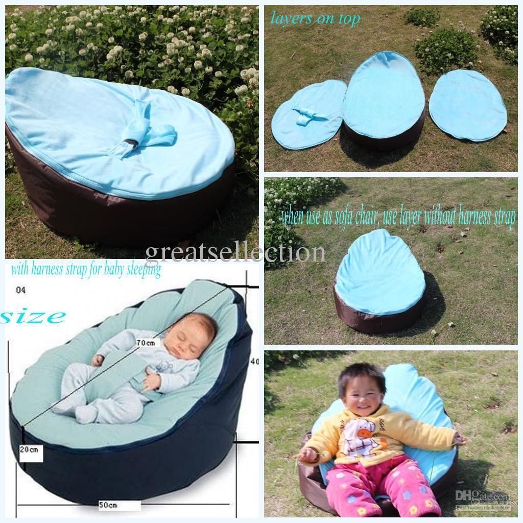 Whole Bean Bag Hot Baby Snuggle Bed Kids Sofa Chair Cover Two Top Covers No Filling Waterproof Oxford Fabric Free Shippin