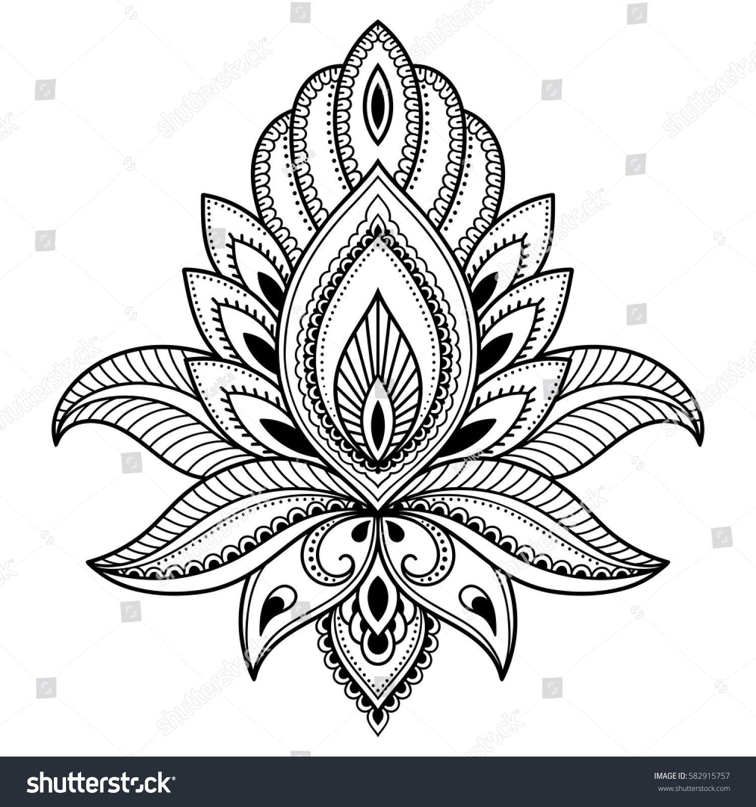 Mehndi Lotus Flower Pattern For Henna Drawing And Tattoo Patronen Tatoeages Stokken