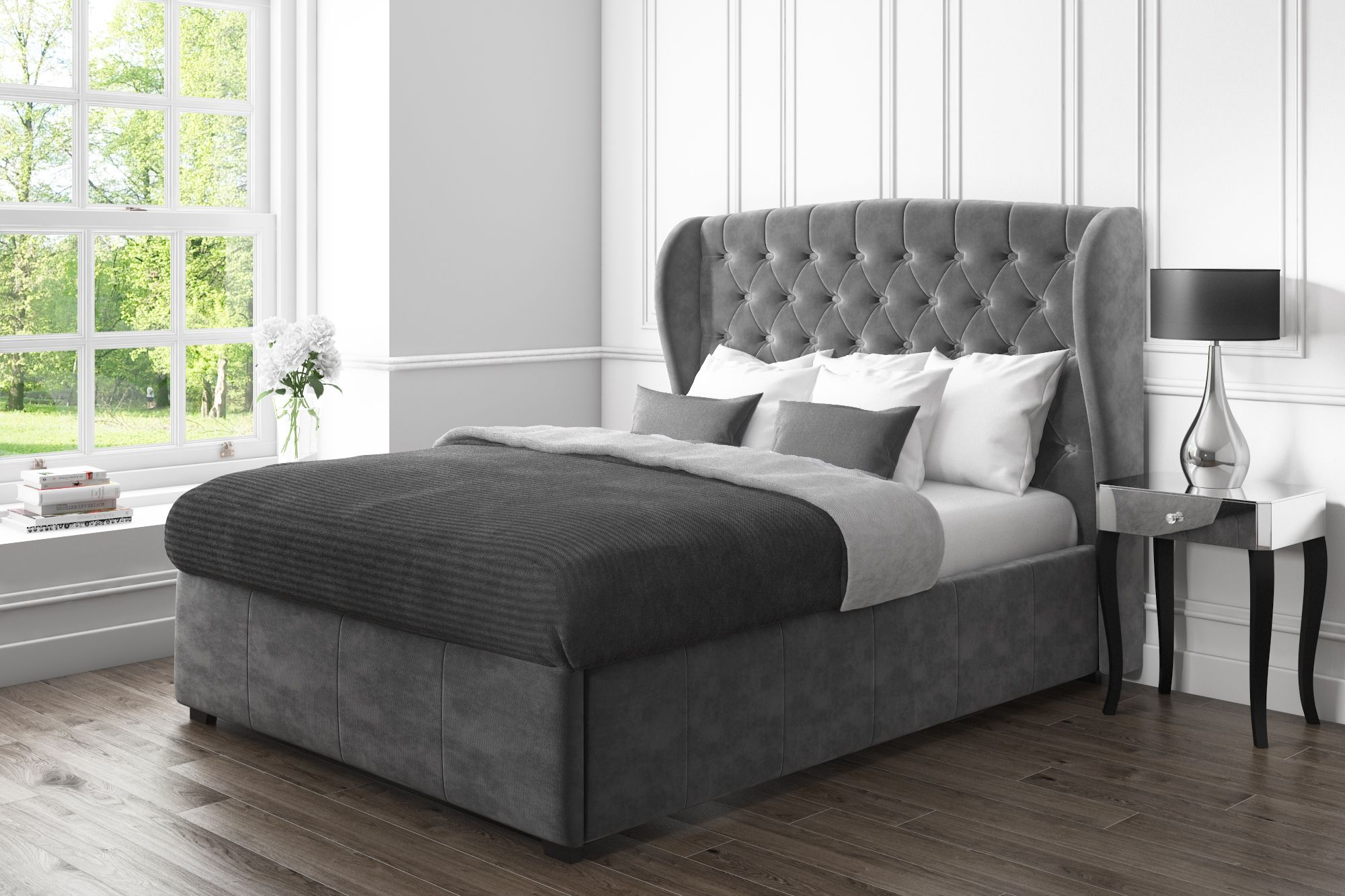 Surprising Safina Wing Back Double Ottoman Bed In Grey Velvet Saf021 Spiritservingveterans Wood Chair Design Ideas Spiritservingveteransorg