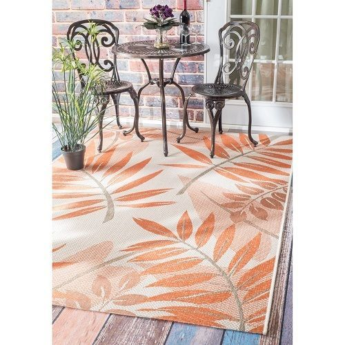 Indoor Outdoor Rug Orange Tropical 9 X 12 Outdoor Furniture Porch Deck Sun  Room #nuLoom
