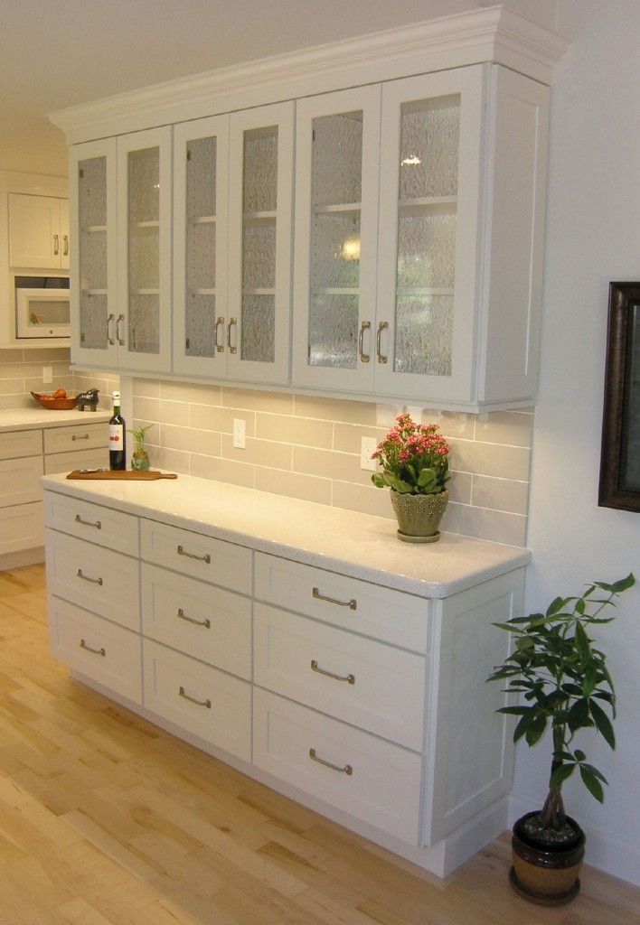 Painted White Cabinets In Built Storage Hutch With Reduced Depth Base