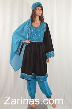 Feroza Afghan Dress.  Gorgeous, fancy Afghan dress, decorated with blue gems, elegant beads, and sequins. The beautiful blue embroidery is stunning yet simple, with a matching head scarf and pants. Be fabulous in this amazing Afghan dress!