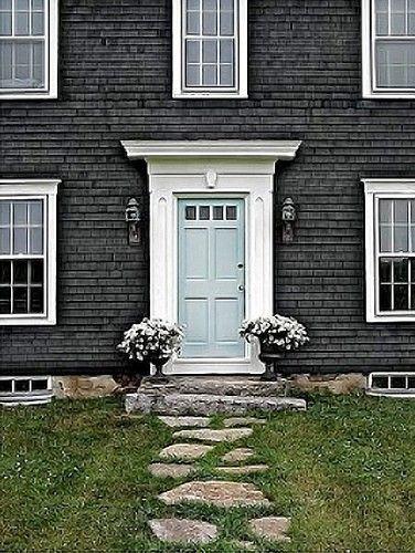 Dark Teal Front Door Curb Appeal