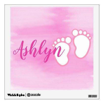 Pink watercolor footprint little baby feet name wall decal baby pink watercolor footprint little baby feet name wall decal baby gifts child new born gift negle Choice Image