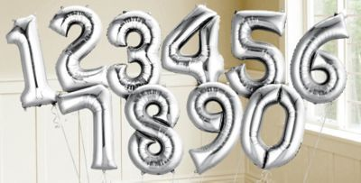 Silver Number Balloons - Party City