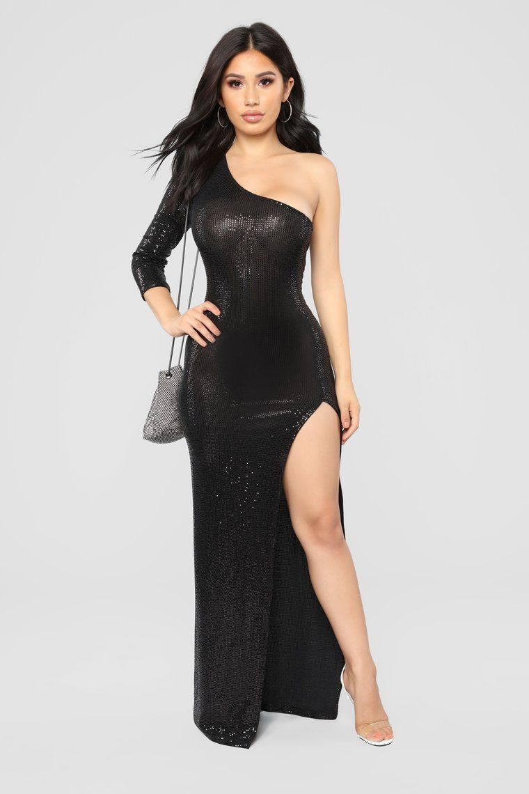 Camille Sequin Dress Black Dresses, Black sequin dress