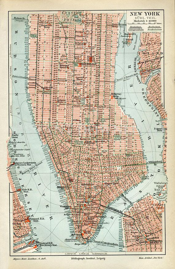 Instant Download New York City Map late 1800s 400 Dpi Antique ... on