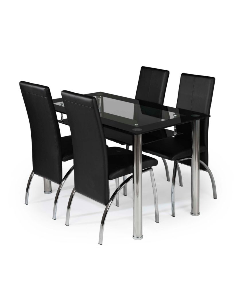 Buy Kingston Glass And Chrome Dining Table 4 Black Chairs At Argosco