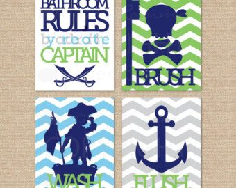 Superior Items Similar To Pirate Bathroom Rules.by Order Of The Captain.Wash, Brush,  Flush // 4 Print Set // Kids Bathroom Giclée Prints // On Etsy