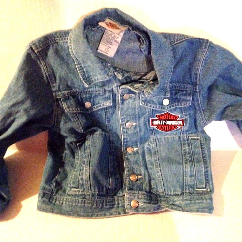 37ccf46eed Harley Davidson HD Denim Jacket Youth front patch back Motorcycle sz S  Small  HarleyDavidson  JeanJacket