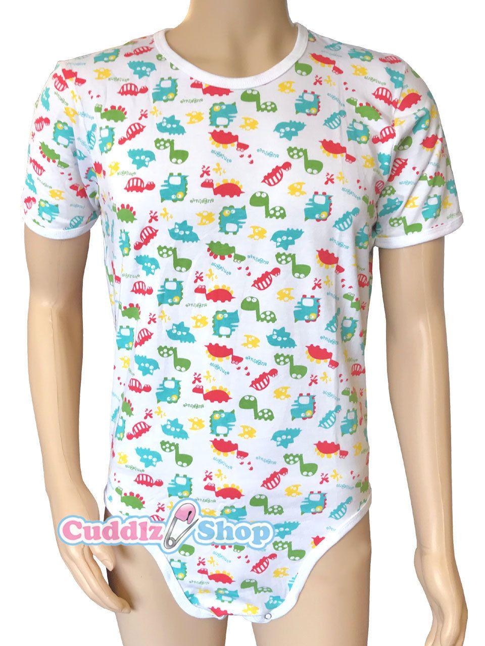 ead1eba9225 Cuddlz Colourful Dinosaur Animal Pattern Stretch Cotton onesie for adults  ABDL Adult Baby Body Suit