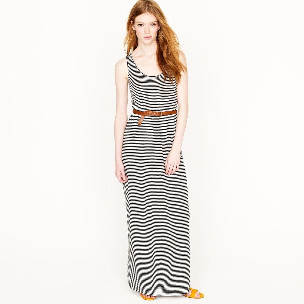 5288dedc33c J.Crew Gray   Navy Blue Skinny Stripe Knit Sasha Maxi Dress L  JCrew  Maxi   dress