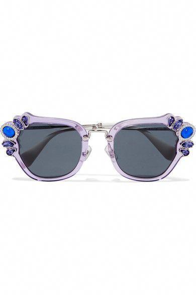 2bf19678dd9 MIU MIU Crystal-embellished cat-eye acetate sunglasses.  miumiu  sunglasses