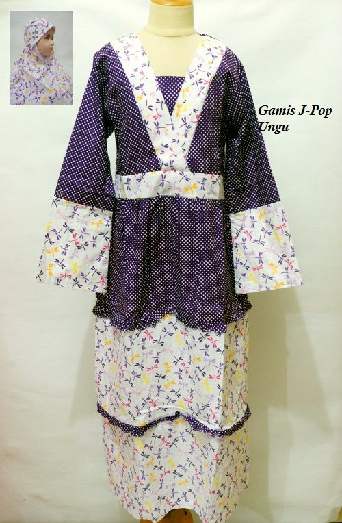 Gamis J Pop Model Kimono Full Katun Motif Bunga Ungu Untuk Anak Usia 9 10 Hingga 12 Tahun Atau Disesuaikan Dengan Ukuran Tubuh A Kimono Top Fashion Women S Top