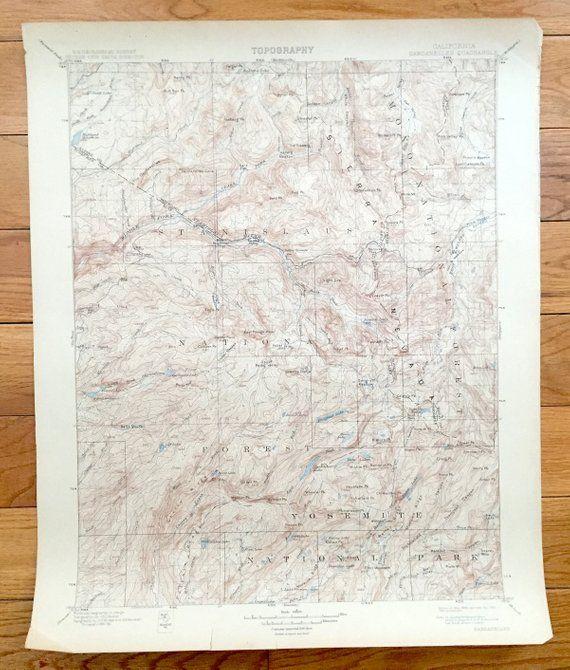 Antique Yosemite National Park, California 1898 US Geological Survey ...