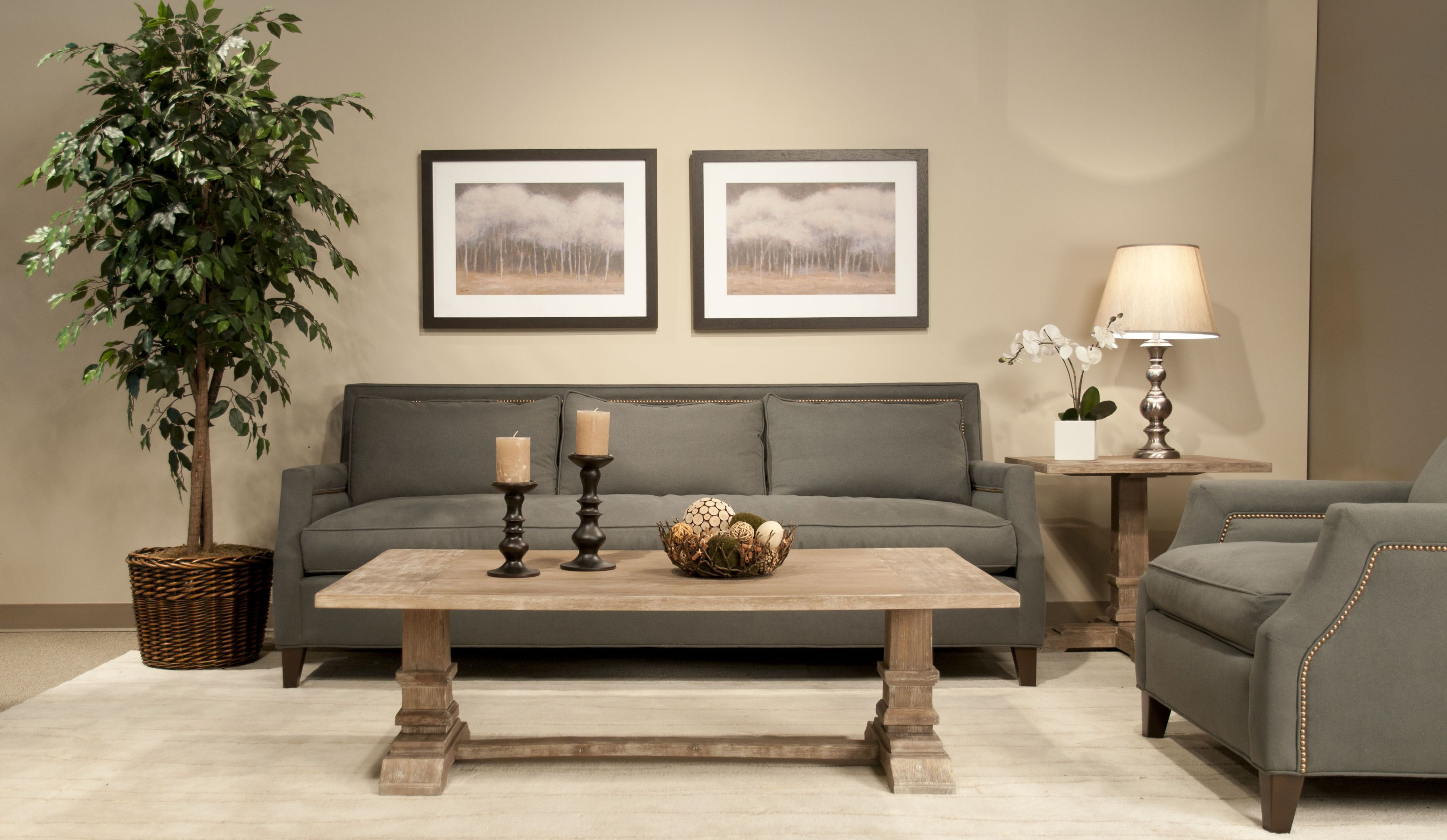 Wonderful Living Room Design With Grey Sofa Set And Grey Cushion