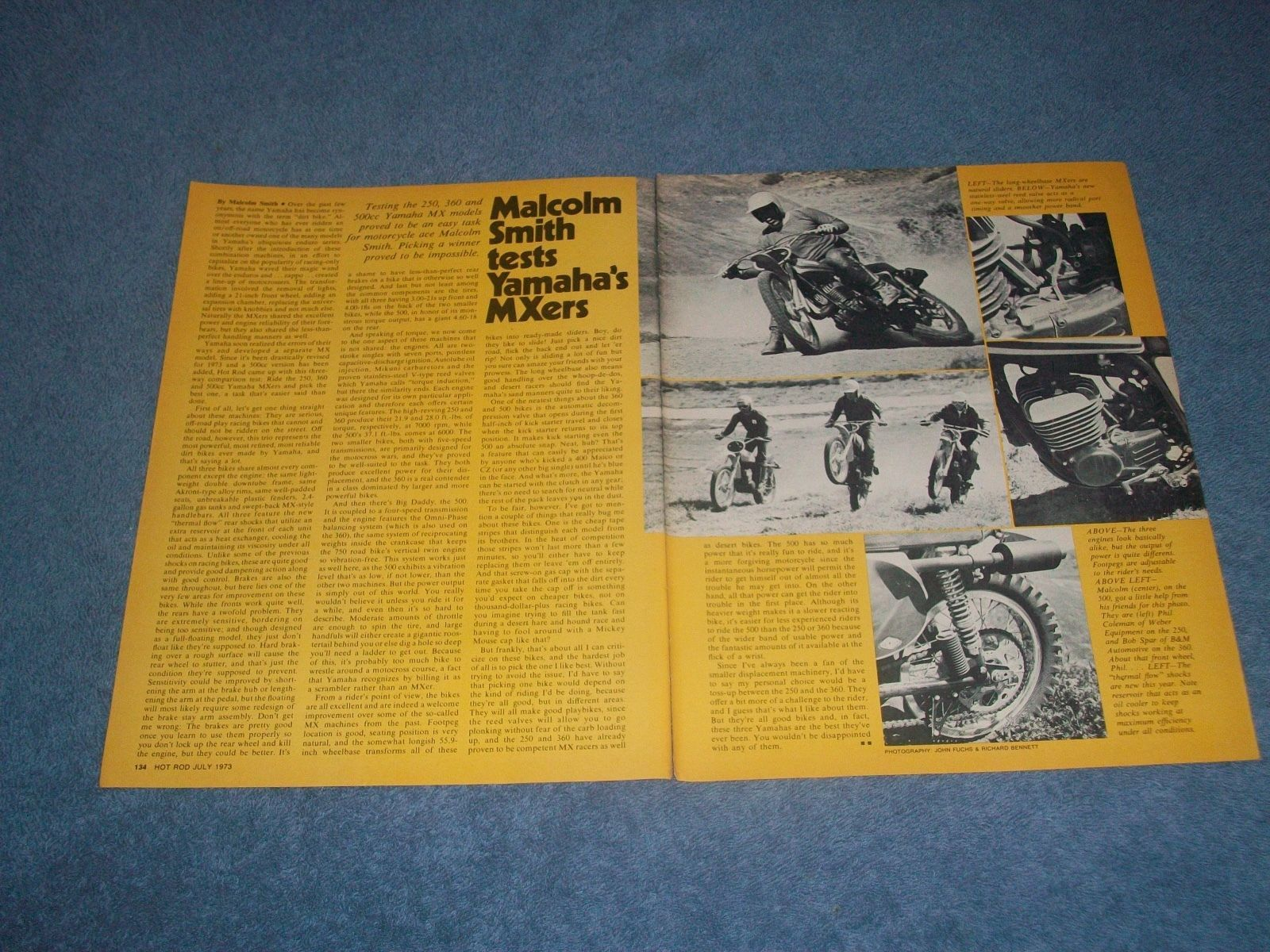 "1973 Yamaha 250 360 500 Vintage Bike Test Article ""Malcolm Smith Tests MXers"""