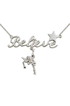 85f4a34f7 Disney Sterling Silver Tinkerbell Believe Necklace $49.99 | Clothes ...
