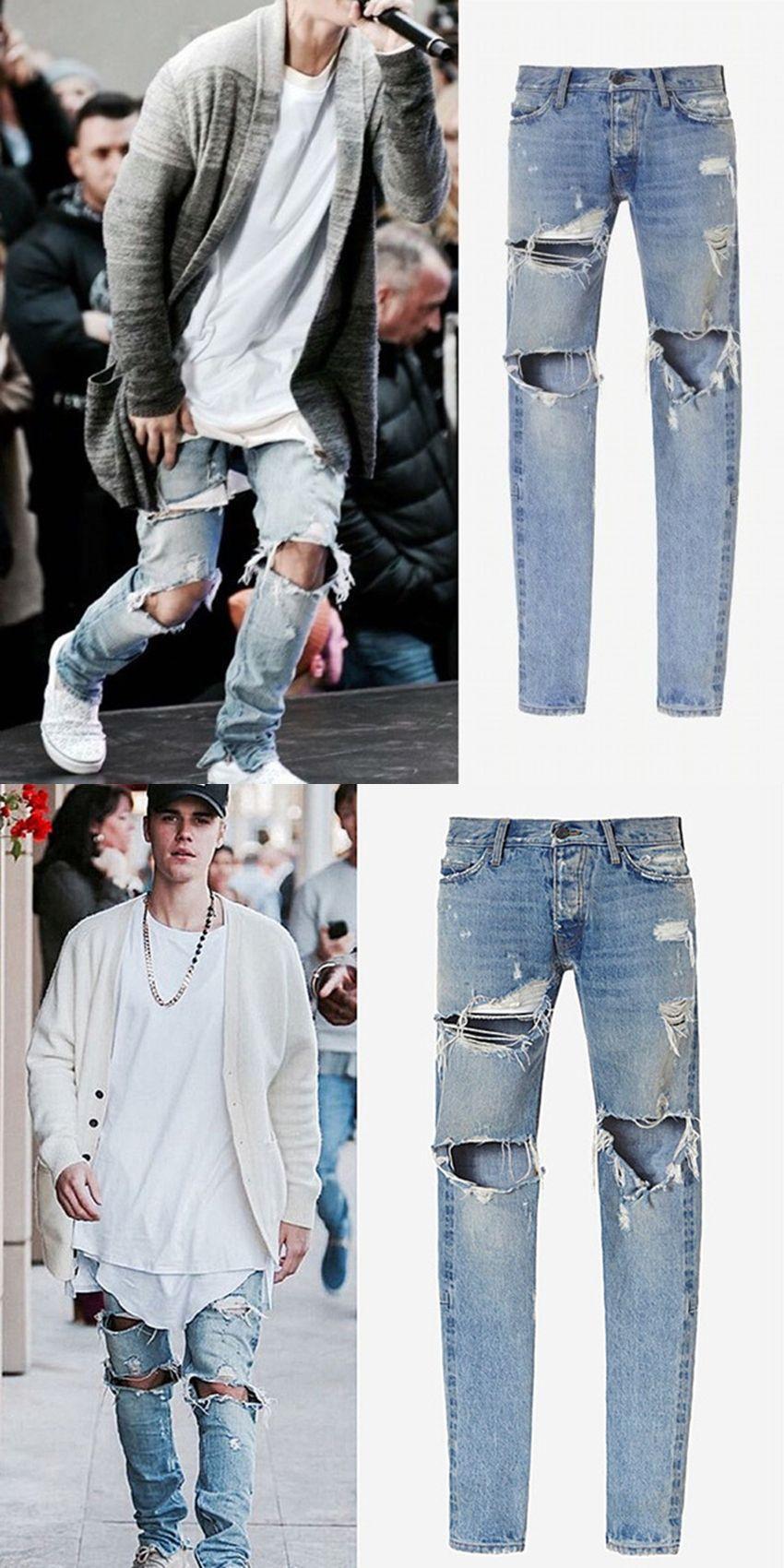 Fashion Mens Hip Hop Ankle Zipper Biker Denim Pants Justin Bieber