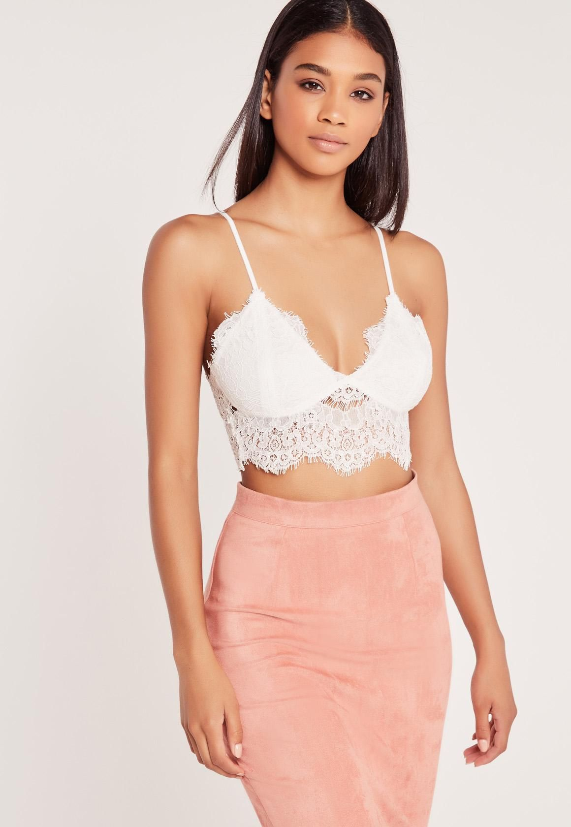 65d2e408eb2 Missguided - Corded Lace Bralette White | Outfit | Bralette tops ...