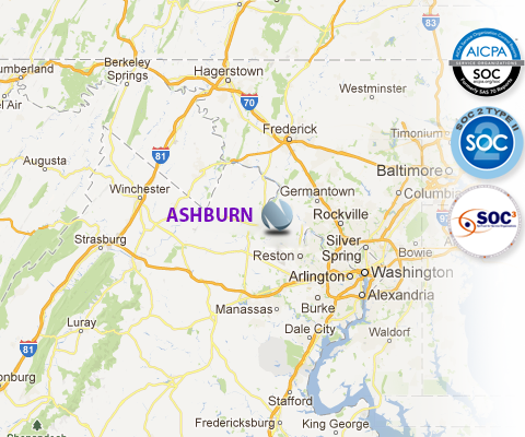 Map Of The Data Center Location In Ashburn Va Ashburn Virginia