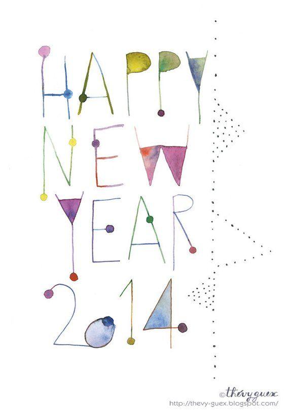 Ähnliche Artikel wie 2014 Frohes neues geometrische Typografie Aquarell Card/2014-Neujahr zeitgenössische Kunst Grafikkarte auf Etsy
