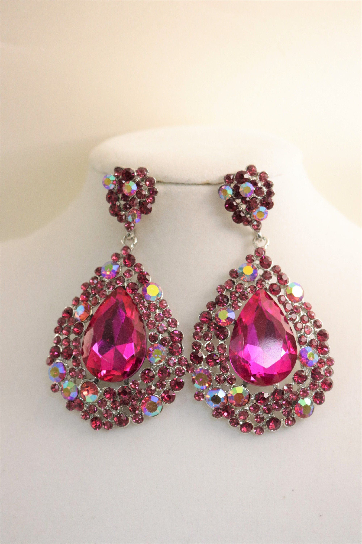 fuchsia pageant earrings Fuchsia ab rhinestone earrings fuchsia prom earrings hot pink earrings