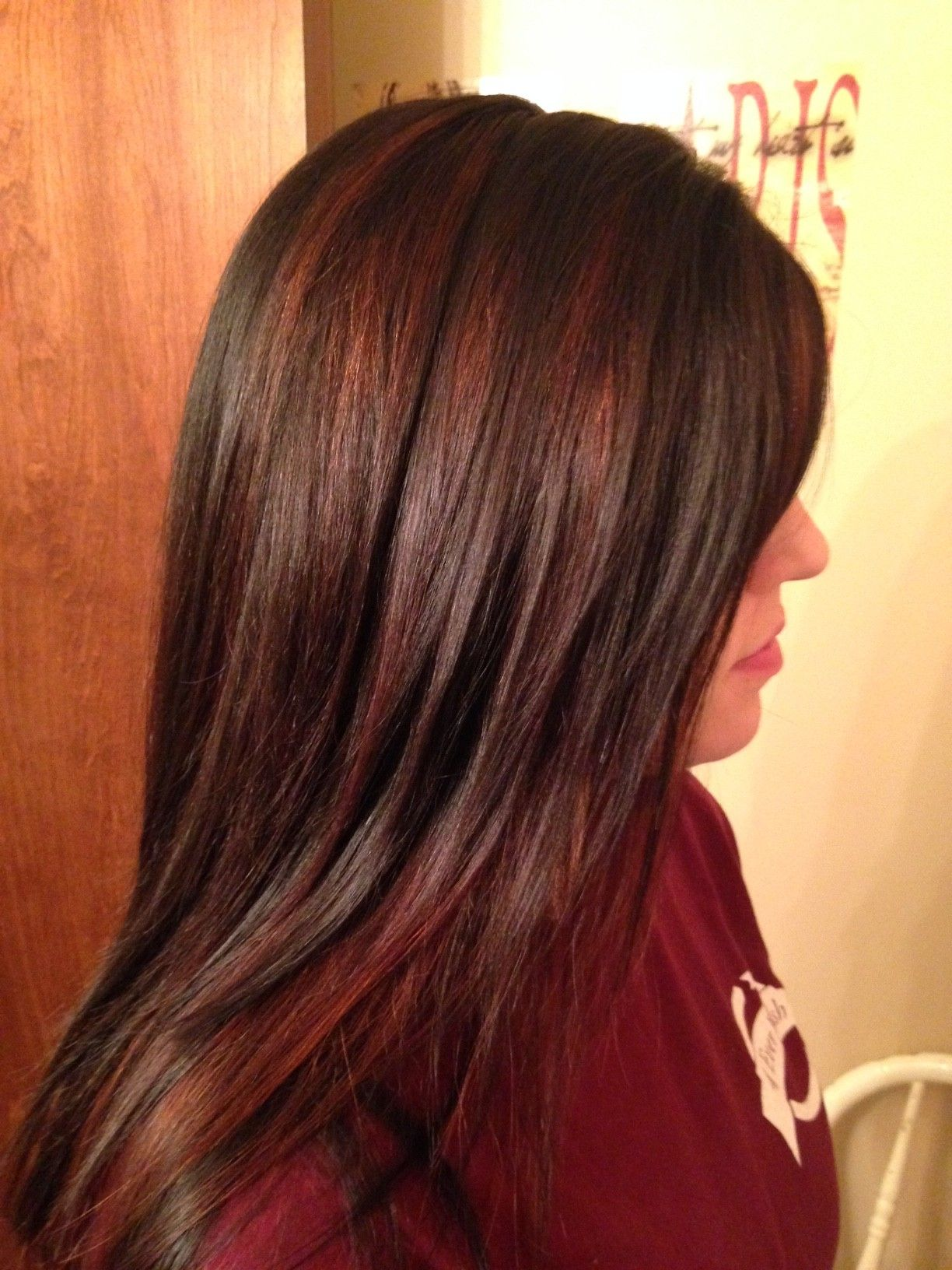 Chocolate brown with red highlights love hairstyles pinterest