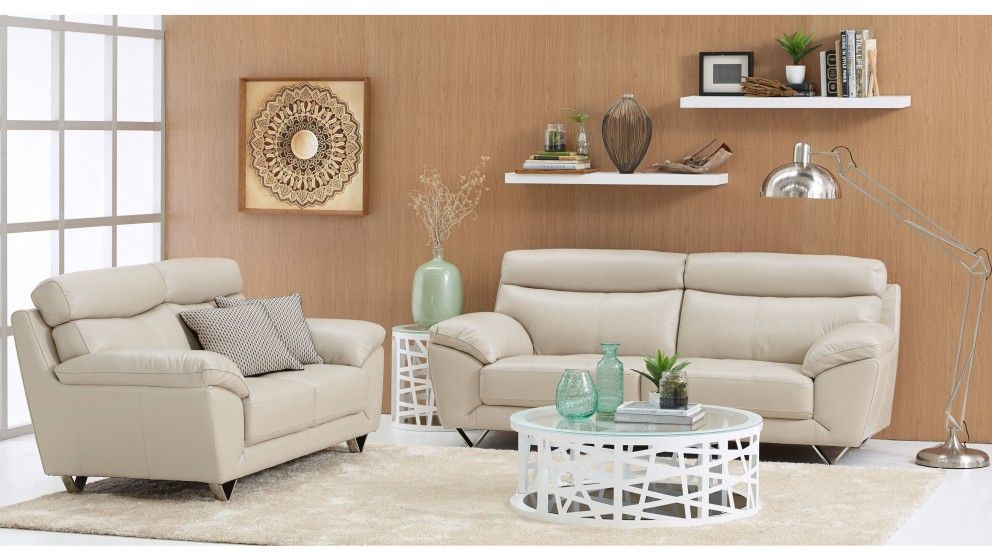 Chloe 2-Piece Leather Lounge Suite - Lounges - Living Room ...