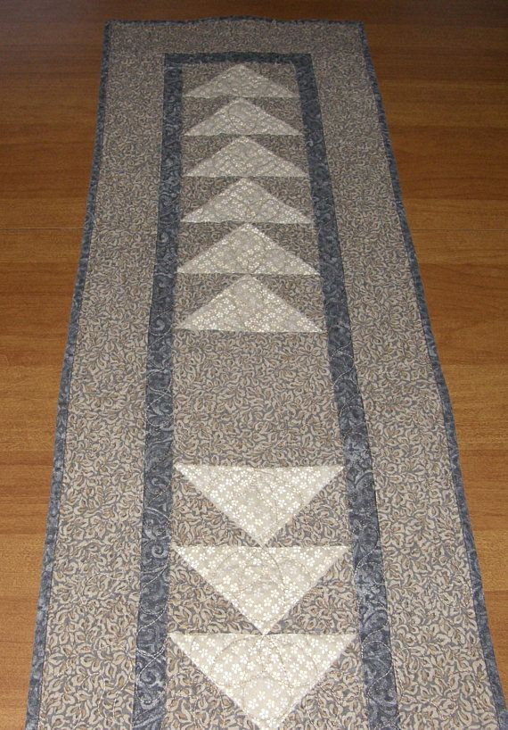 Modern Quilted Table Runner, Table Runner Quilt, Taupe Gray Table Runner,  Neutral Table