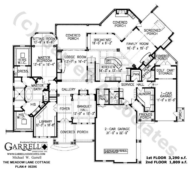 Mountain Craftsman House Plans: Meadow Lane Cottage House Plan # 06396, 1st Floor Plan